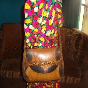 Handbags - Brown w/Tooled Leather Roses Boho Shoulder Bag